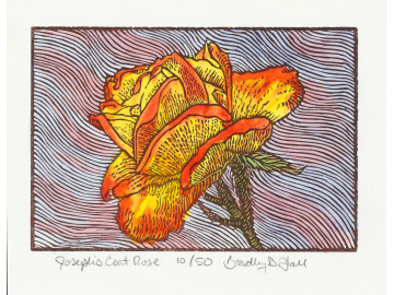 Hand painted linoleum block print